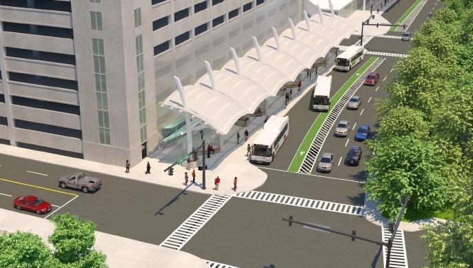 A rendering of a proposed  linear Niagara Frontier Transportation Authority bus hub along North Division Street in downtown Buffalo. (Provided by NFTA)