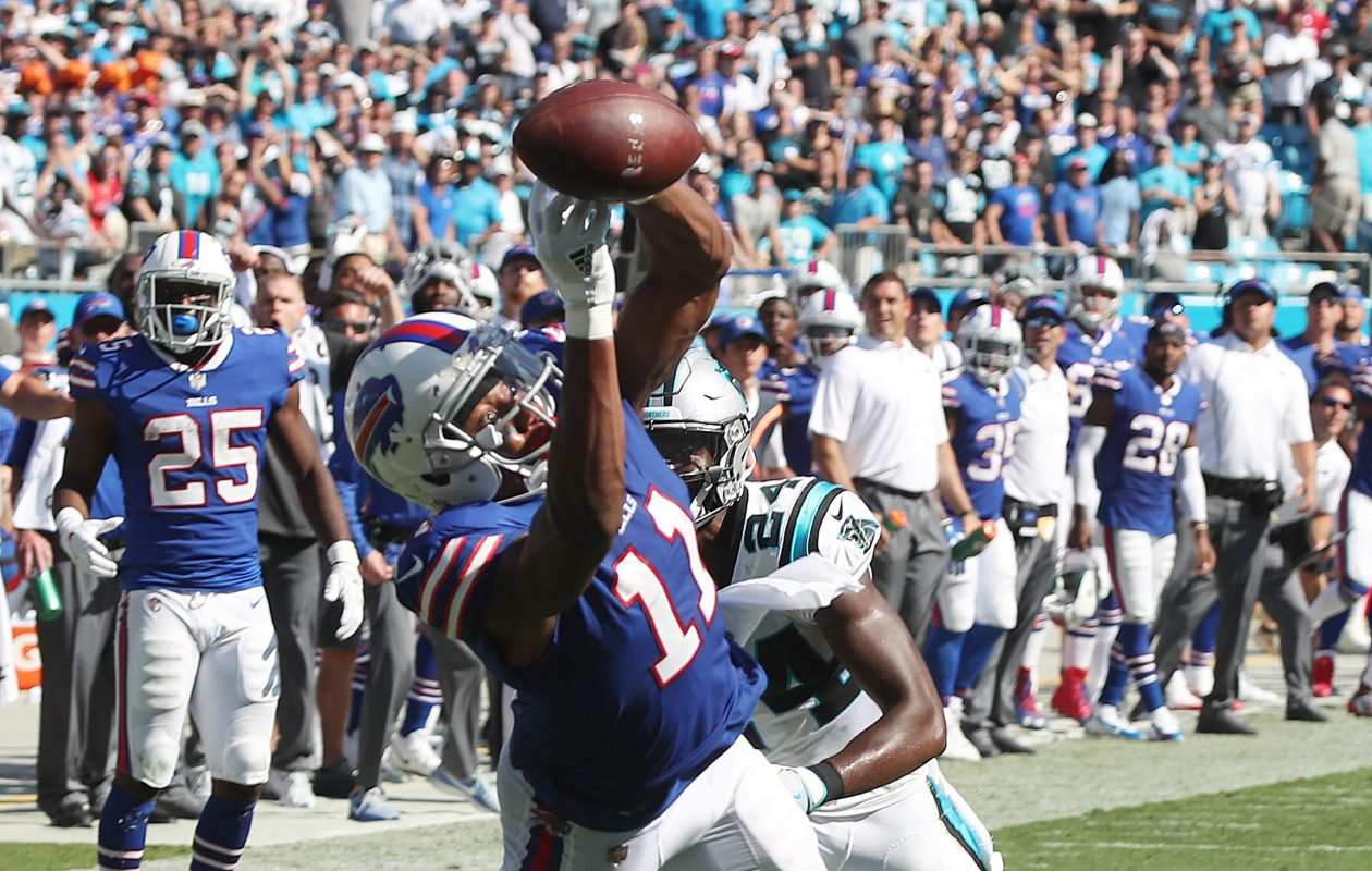 The Bills almost stole a victory in Week Two at Carolina, but rookie receiver Zay Jones just missed making this catch. (James P. McCoy/Buffalo News)