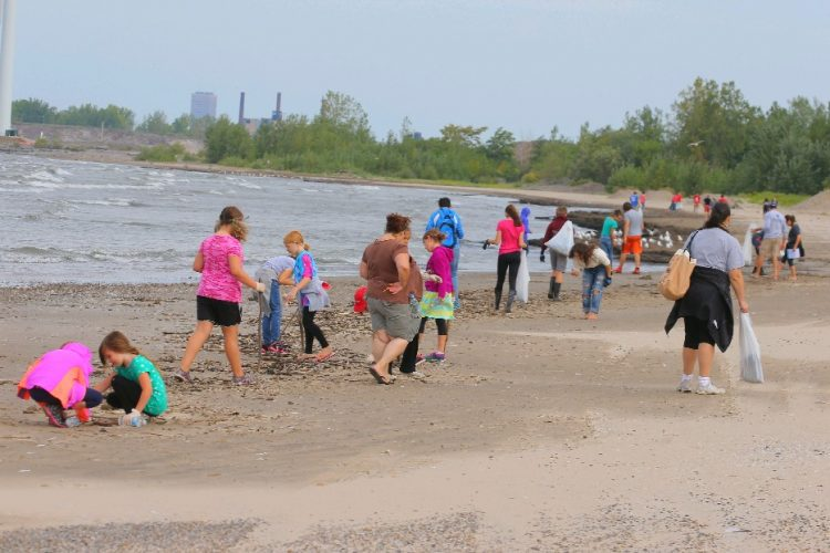 Volunteers turn out every September to pick up trash at Woodlawn State Park beach as part of the Great Lakes Beach Sweep. (John Hickey/Buffalo News file photo)