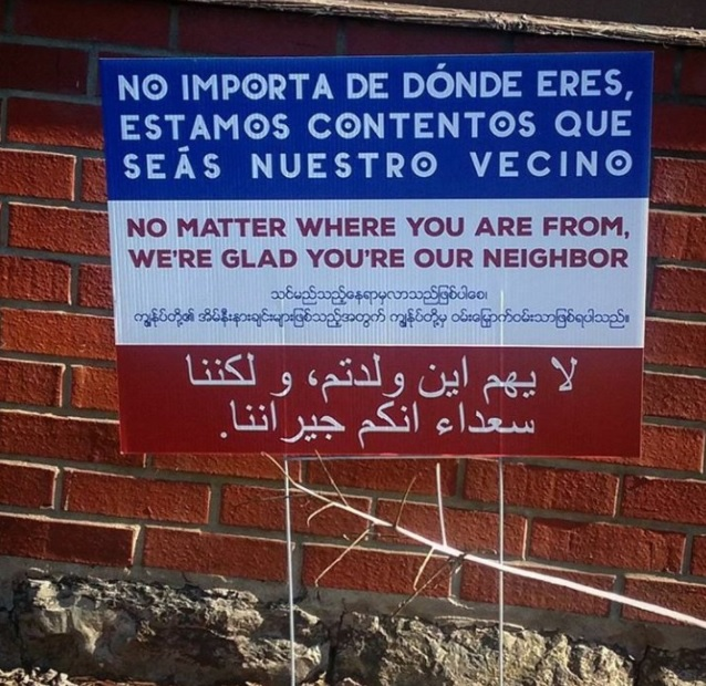 This is what one of the signs looked like before it was burned. (Photo courtesy Carmen Rodriguez)