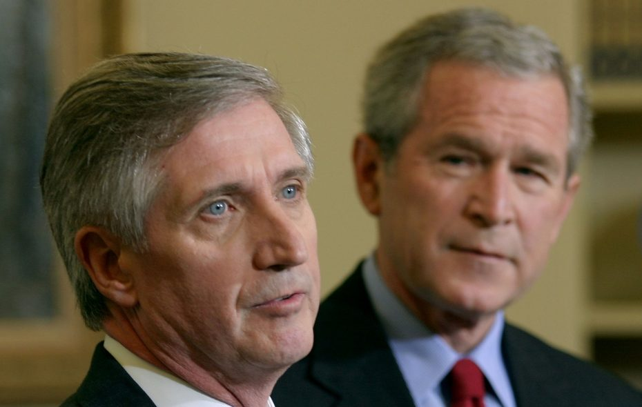 Former White House Chief of Staff Andy Card, seen here at a 2006 press briefing with former President George W. Bush, talked politics in a recent visit to Buffalo.  (Getty Images file photo)