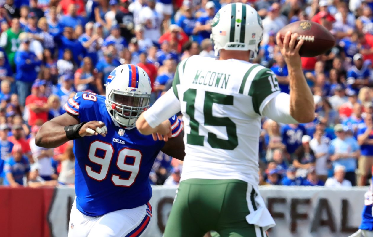 The Jets' Josh McCown is one of the few remaining options among veteran free agents at quarterback.(Harry Scull Jr./Buffalo News)