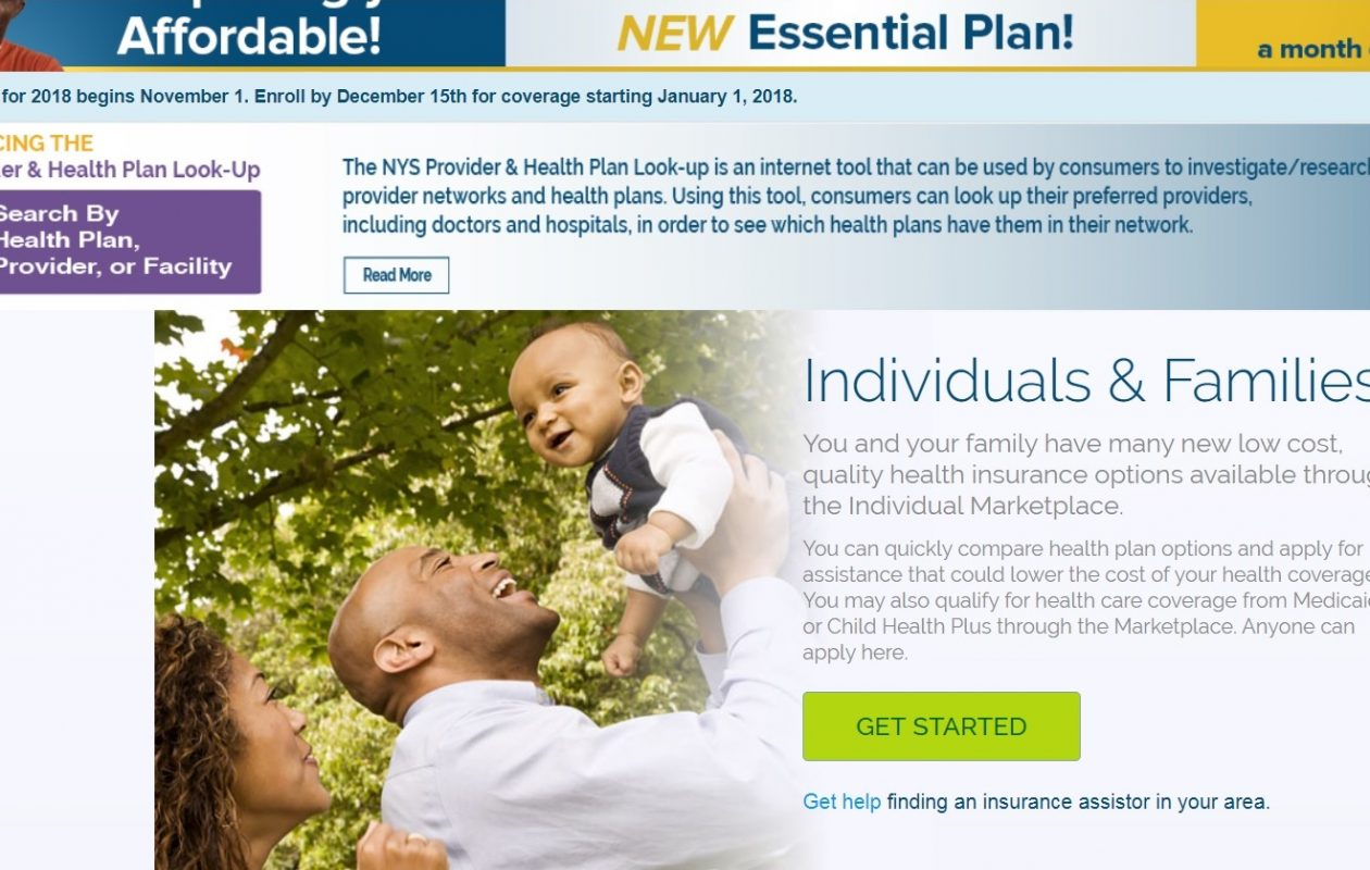 Screenshot of the website for the state health insurance exchange.