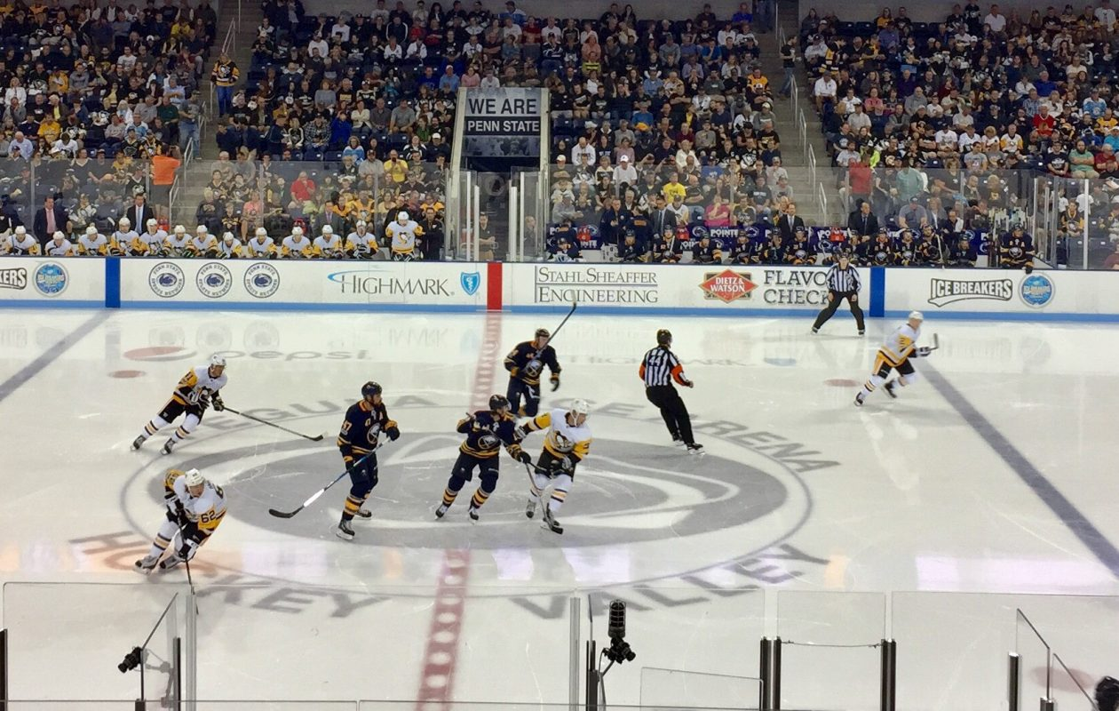 Fans packed Pegula Ice Arena to watch the Sabres and Penguins on Tuesday. (John Vogl/Buffalo News)