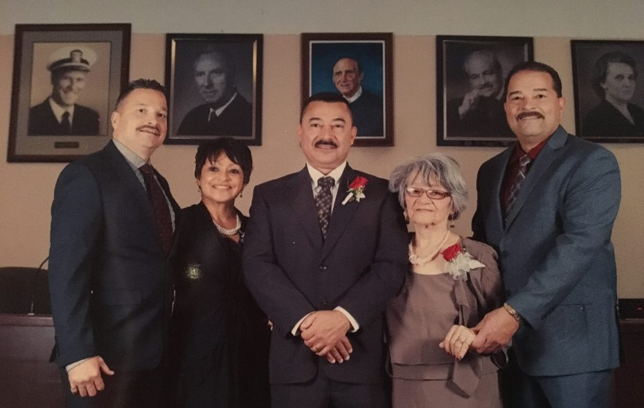 On inauguration day for  Dunkirk Mayor Willie Rosas, Rosalia Rosas (second from right) with her children, left to right: Robert, Julia, Willie and Hector Jr. The family has been unable to reach Rosalia, who retired to Puerto Rico, since Hurricane Maria devastated the island. (Family photo)