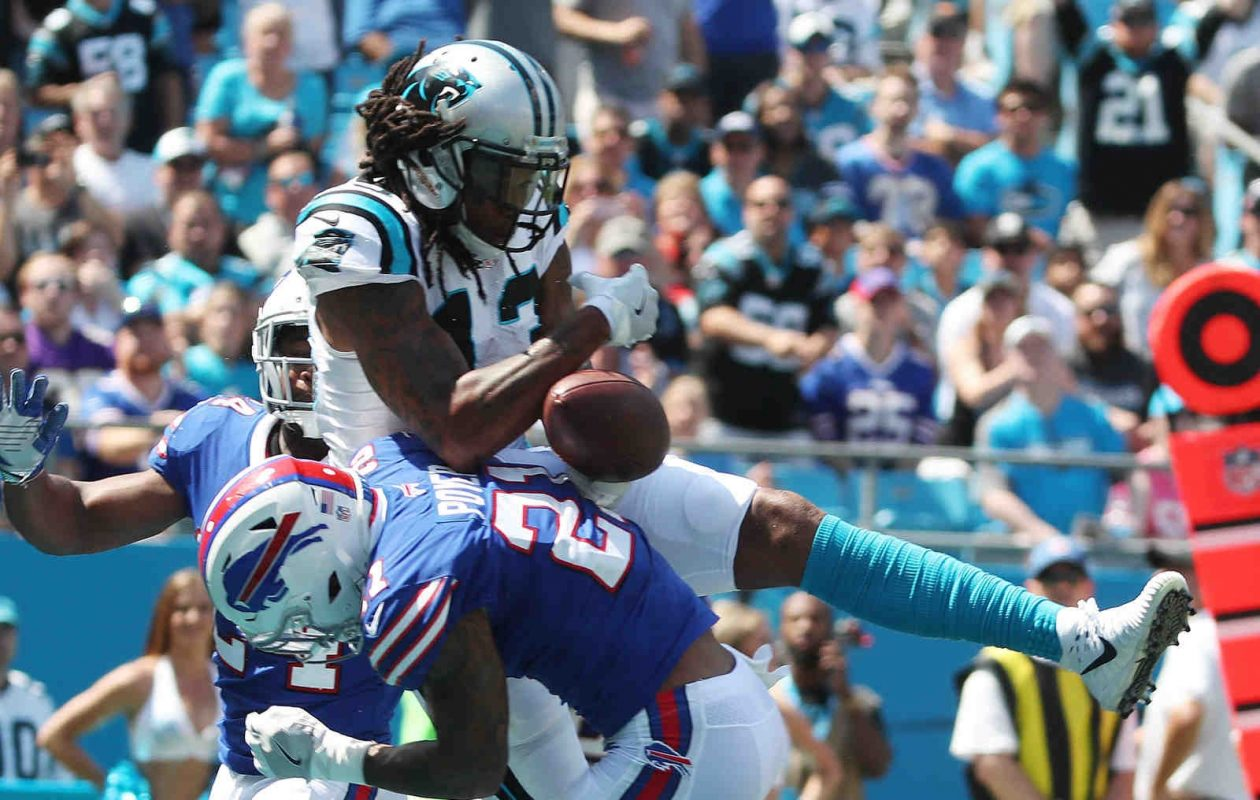 Buffalo Bills free safety Jordan Poyer (21) breaks up a pass intended for Carolina Panthers wide receiver Kelvin Benjamin (13) in the first quarter of last Sunday's game. (James P. McCoy/Buffalo News)