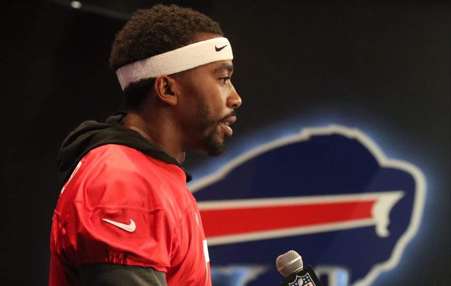 Buffalo Bills quarterback Tyrod Taylor (5) answers questions at his weekly press conference at ADPRO Sports Training Center in Orchard Park on Wednesday, Sept. 20, 2017. (James P. McCoy/Buffalo News)