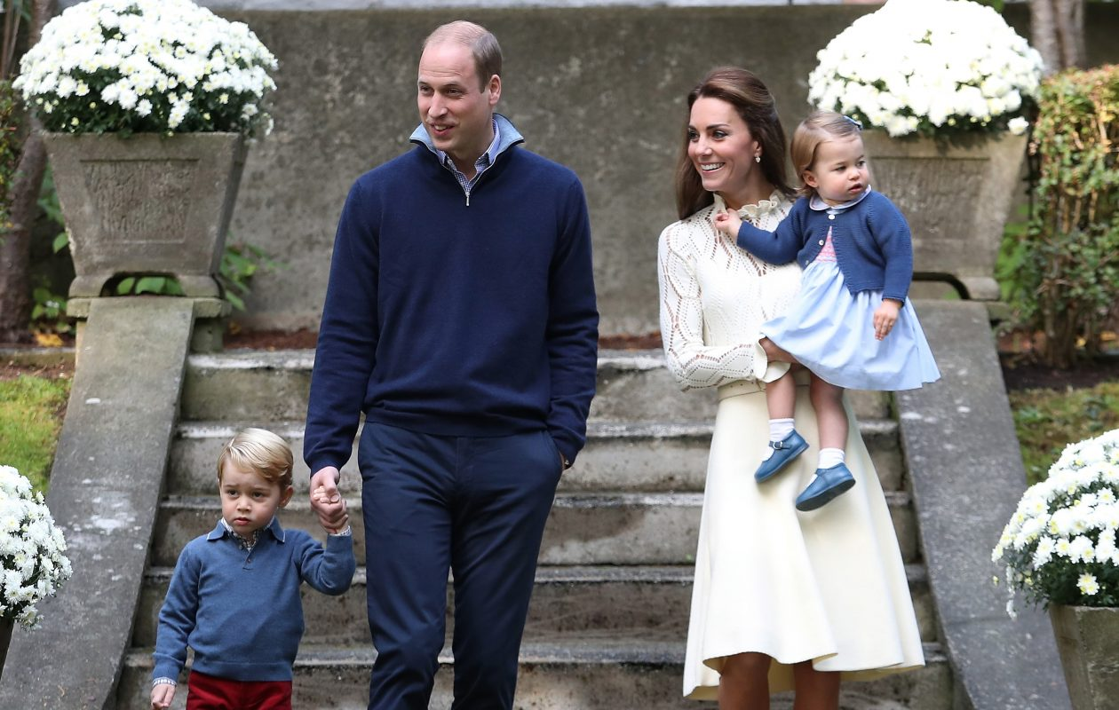 Catherine, duchess of Cambridge, Princess Charlotte of Cambridge, Prince George of Cambridge and Prince William, duke of Cambridge arrive for a children's party for military families during the Royal Tour of Canada on September 29, 2016, in Victoria, Canada. (Getty Images)