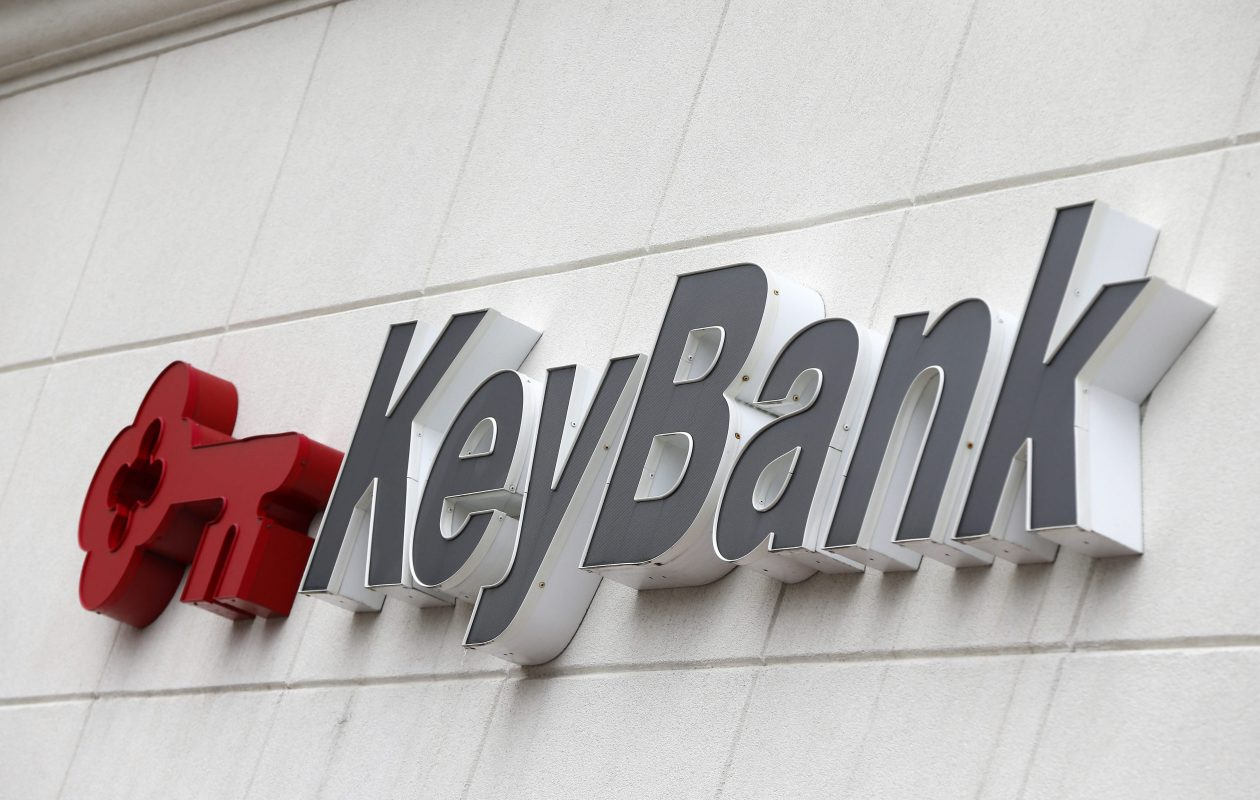 A KeyBank sign in Orchard Park. (Mark Mulville/Buffalo News)