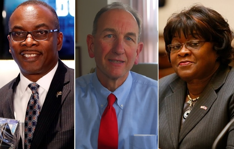 The Sept. 12 primary will decide the mayor's race, between incumbent Byron Brown, Comptroller Mark Schroeder, center, and Legislator Betty Jean Grant. (News file photos)