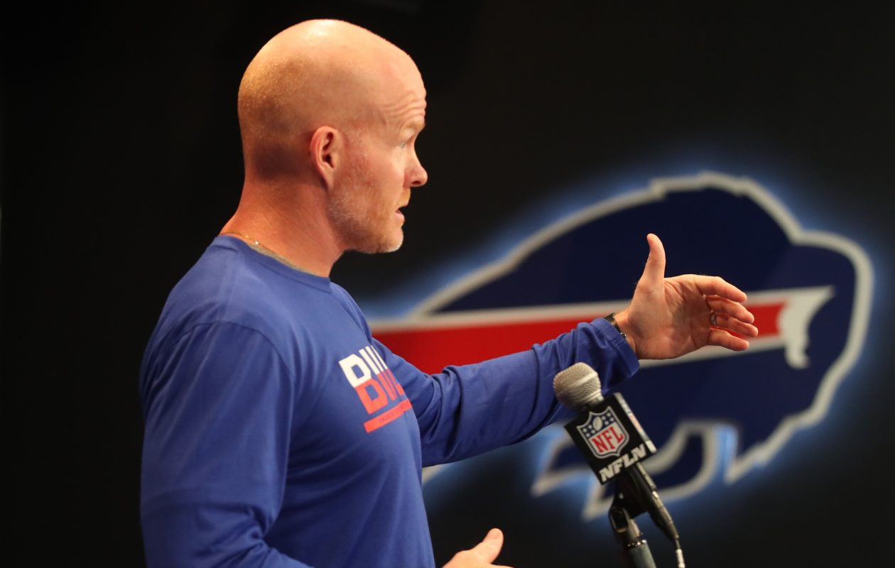 Buffalo Bills head coach Sean McDermott addresses the media today at his weekly press conference about the start of the 2017 season this week at ADPRO Sports Training Center  in Orchard Park N.Y. on Wednesday, Sept. 6, 2017.  (James P. McCoy/Buffalo News)
