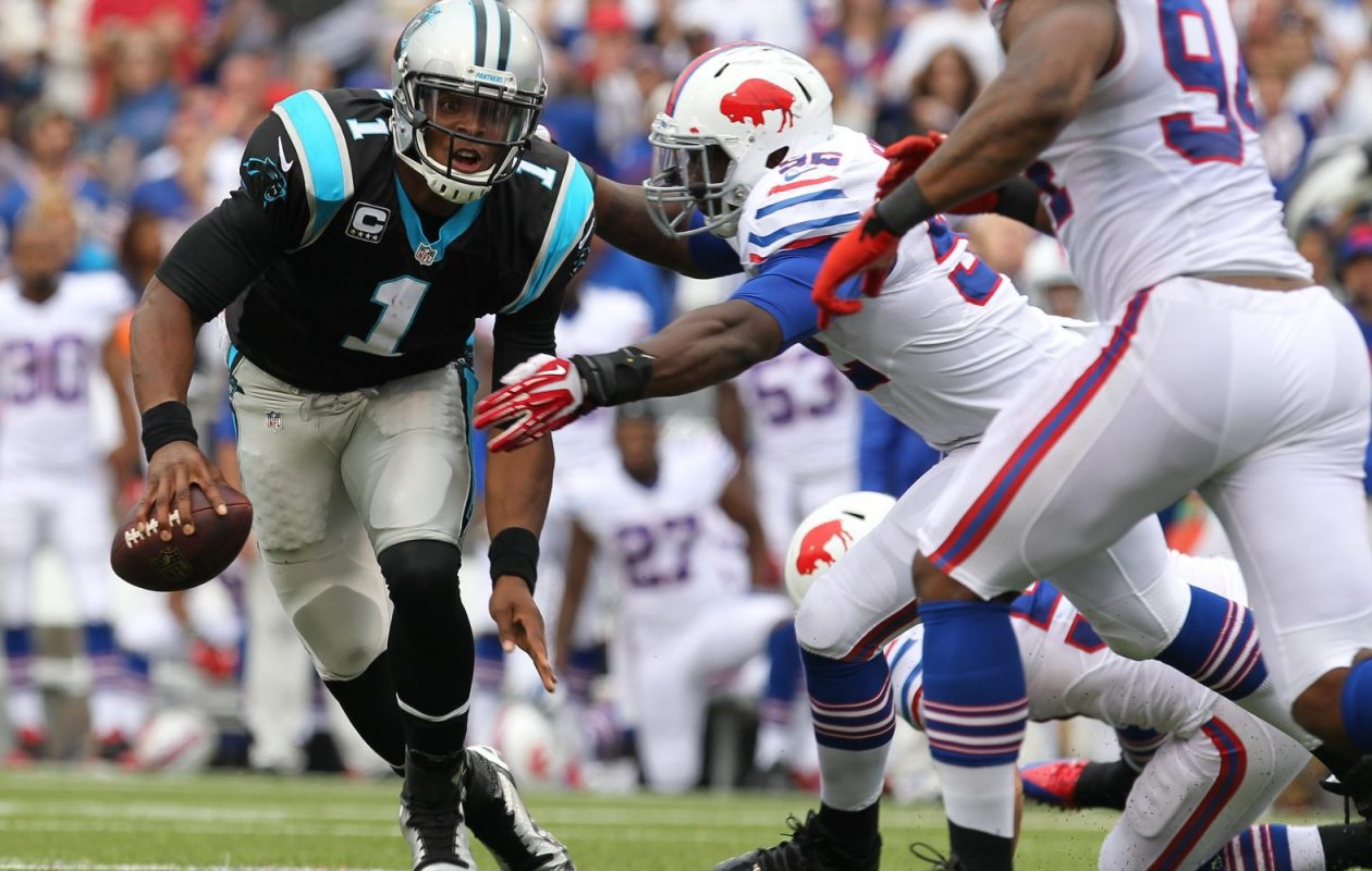 Pro Football Focus' numbers show that Panthers quarterback Cam Newton struggled last season when he was under pressure. (Mark Mulville/Buffalo News)
