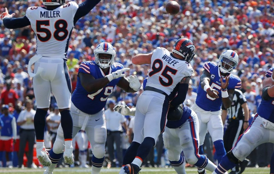 The Bills' pass blocking has been effective this season, even when facing the likes of Von Miller and the Broncos. (Mark Mulville/Buffalo News)