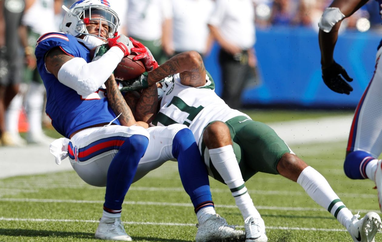 Along with his interception,  Bills safety Jordan Poyer was also credited with three stops by Pro Football Focus. (Mark Mulville/Buffalo News)