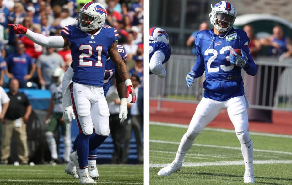 Bills safeties Jordan Poyer and Micah Hyde combined for 10 interceptions last season, tops among safety tandems in the NFL. (James P. McCoy/Buffalo News)