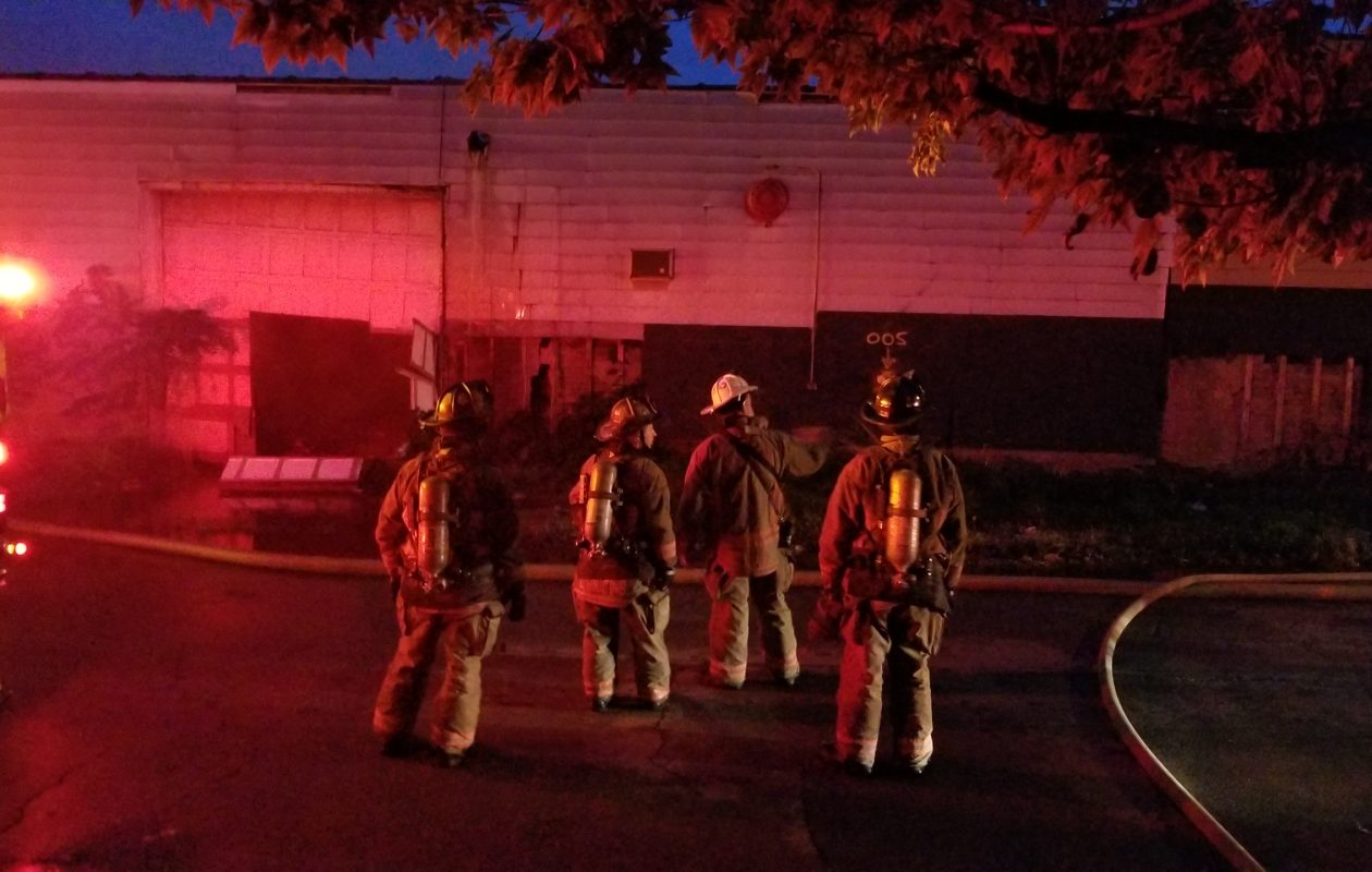 A two-alarm blaze destroyed a vacant railroad building in the city's Broadway-Bailey neighborhood early Saturday morning. (David F. Kazmierczak/Special to The News)