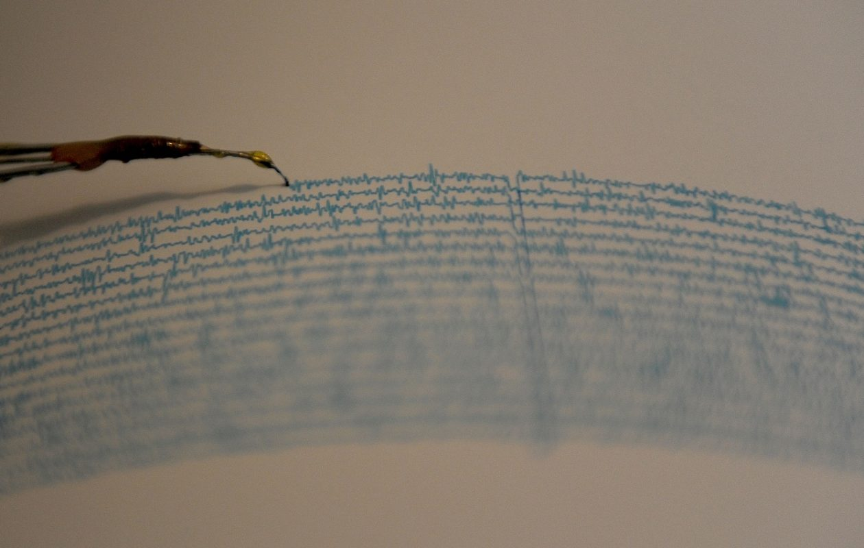 View of a seismograph at the National Seismological Service in the campus of the National Autonomous University of Mexico, in Mexico City on Sept. 14, 2016. (Pedro Pardo/AFP/Getty Images)