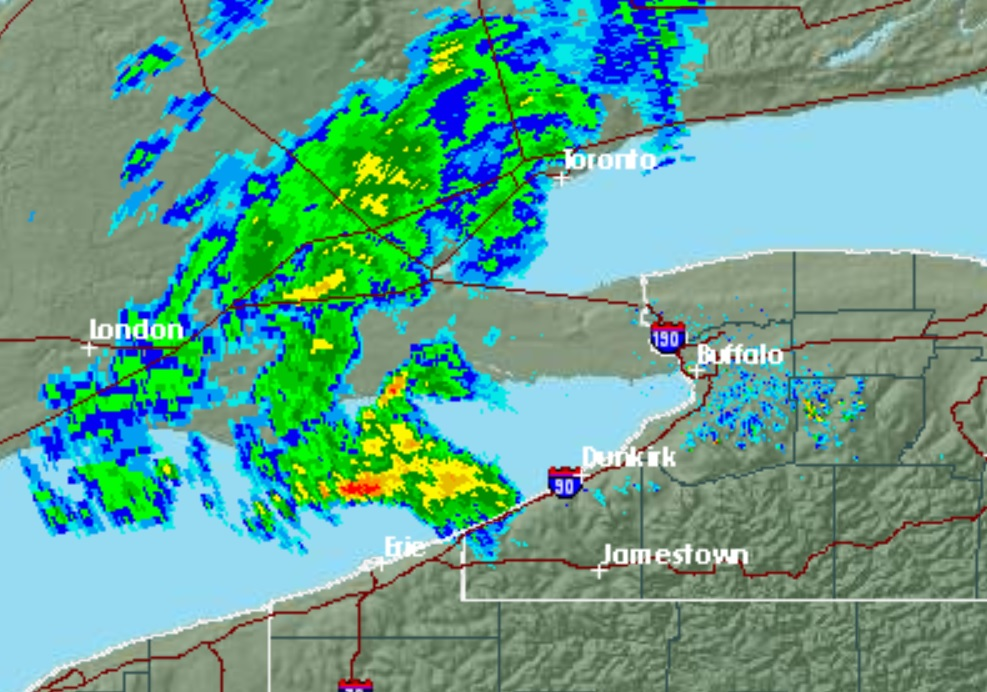 A severe thunderstorm was approaching Chautauqua County's shoreline. Waterspouts are possible, National Weather Service forecasters reported. (NWS Buffalo)