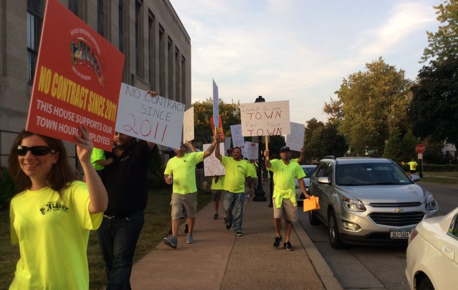 Members of the Hourly Employees Association of Town of Tonawanda picket outside a board meeting. (News file photo)