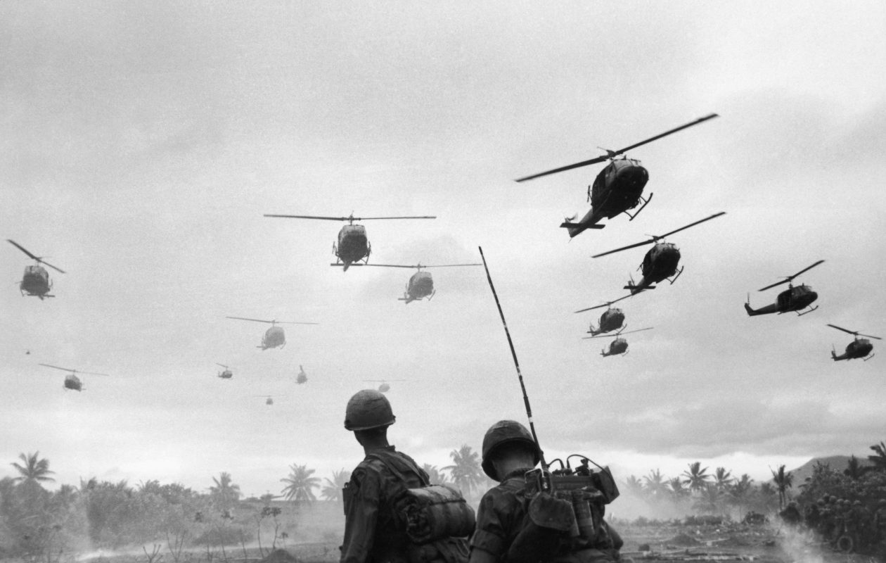 Helicopters were essential to the American military effort in South Vietnam. Here, Hueys fly soldiers of the 1st Air Cavalry Division to an isolated landing zone during Operation Pershing, a search and destroy mission on the Bong Son Plain and An Lao Valley of South Vietnam. (Getty Images)