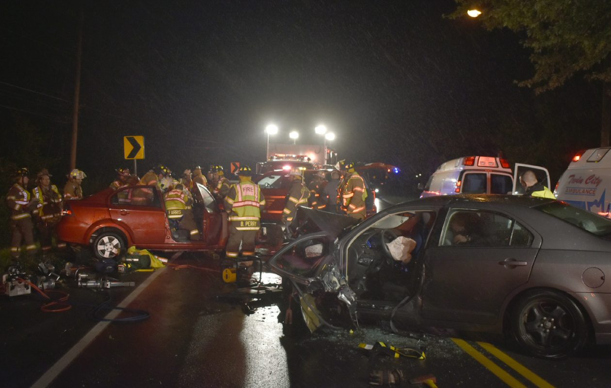 Two people were taken to the hospital after their vehicles collided head on late Friday night in the Town of Wheatfield. (Larry Kensinger/Special to the News)