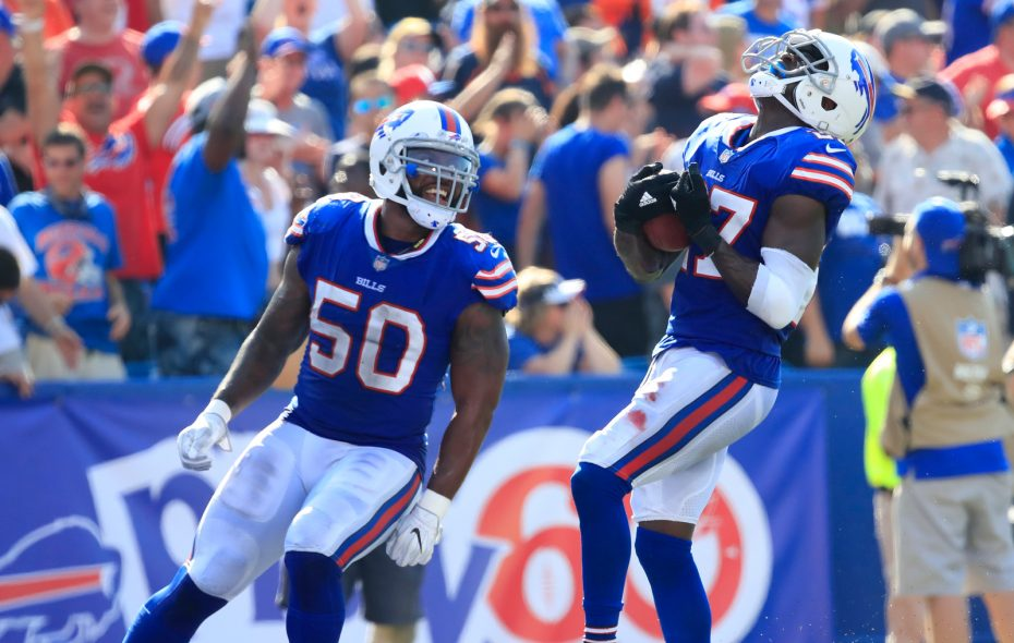 Buffalo Bills cornerback Tre'Davious White (27) celebrates his interception against the Denver Broncos during the fourth quarter at New Era Field on Sunday, Sept. 24, 2017. (Harry Scull Jr./ Buffalo News)