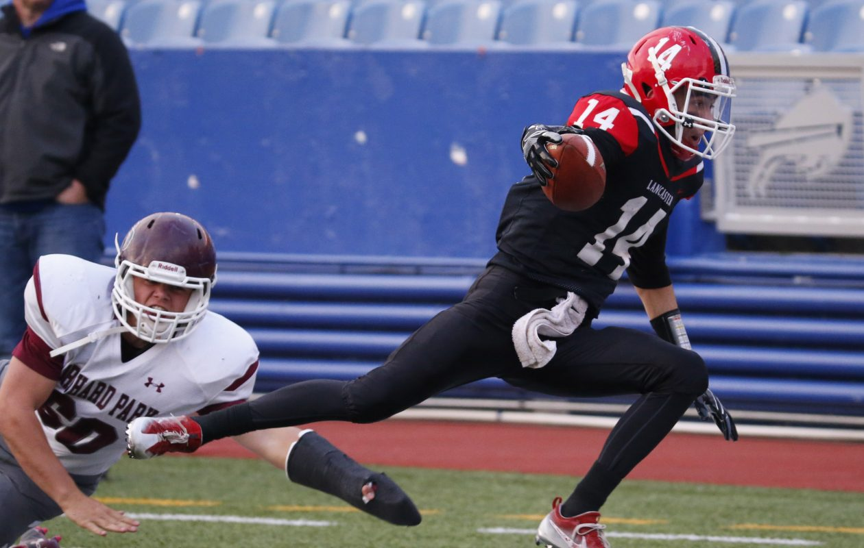 Lancaster's Max Giordano scored via reception, punt return and kick return during a four-touchdown effort for the Legends in their Section VI Class AA semifinal win over Jamestown on Friday night. (Harry Scull Jr./Buffalo News file photo)