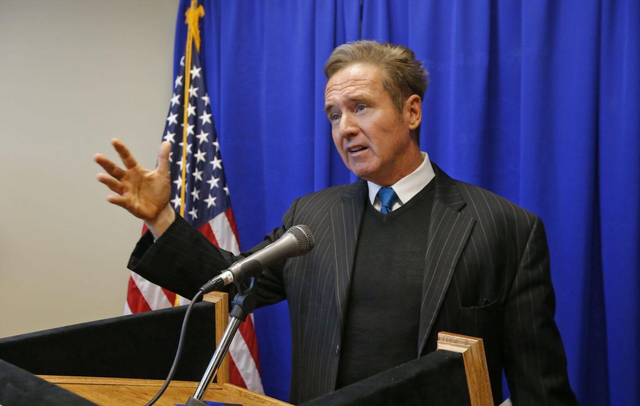 Rep. Brian Higgins speaks received footwear advice former Rep. John J. LaFalce. (Robert Kirkham/Buffalo News)