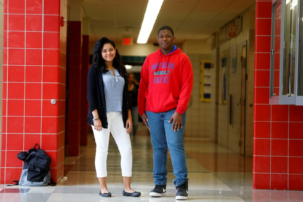 Niagara Falls High School students Mia Maye, left, and Adam Hamilton, right, at the school in Niagara Falls Tuesday, May 2, 2017.  These members of the Niagara Falls Youth City Council, lobbied the School Board and superintendent successfully for creation of a better sex ed curriculum because of the high rates of teen pregnancy and STDs in the city.           (Mark Mulville/Buffalo News)