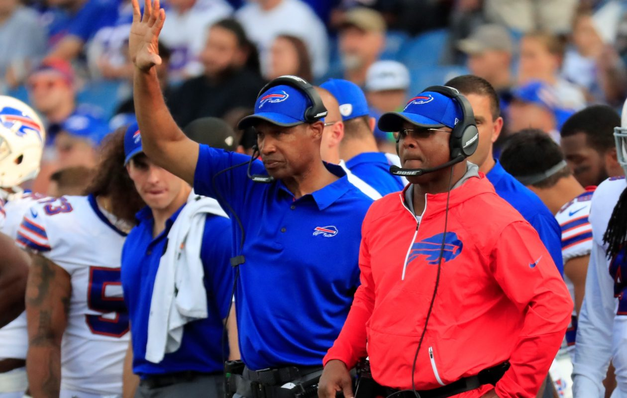 Bills defensive coordinator Leslie Frazier, left, boasts the second-best  red-zone defense in the NFL. (Harry Scull Jr./Buffalo News)