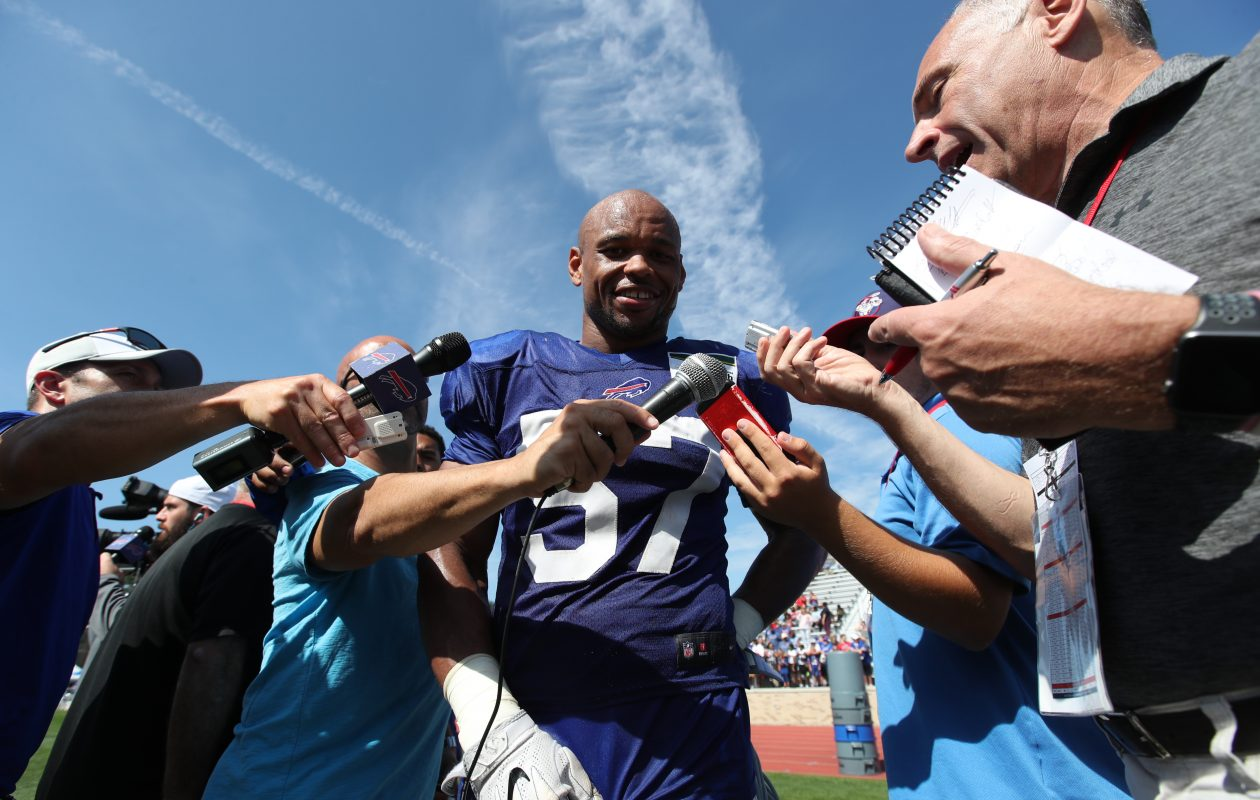 Lorenzo Alexander speaks to the media after practice on Aug,. 14, 2017. (James P. McCoy/Buffalo News)