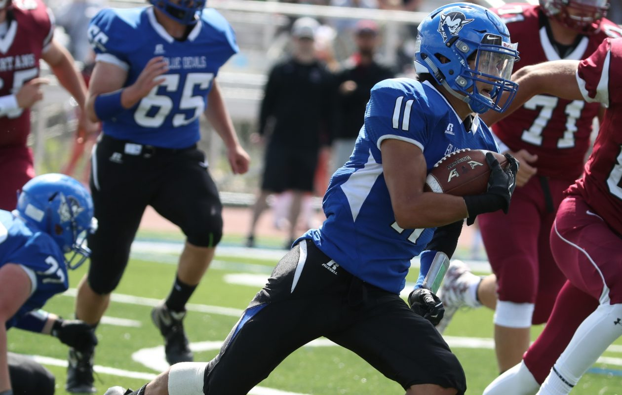 Kenmore West's Joseph Stewart had a big day for the Blue Devils during Saturday's win over Kenmore East.  (James P. McCoy/Buffalo News file photo)