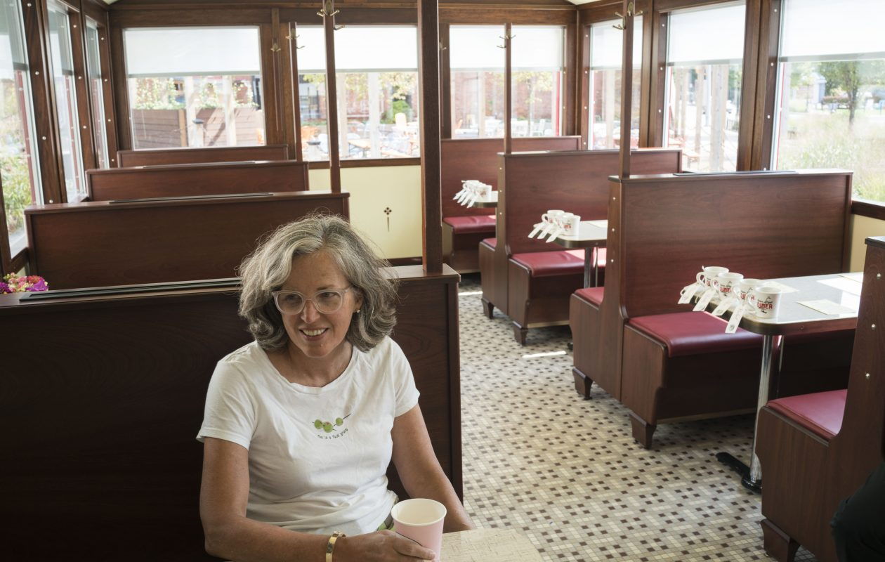 Leslie Zemsky has coffee at the new Swan Street Diner in Larkinville. (Derek Gee/Buffalo News)