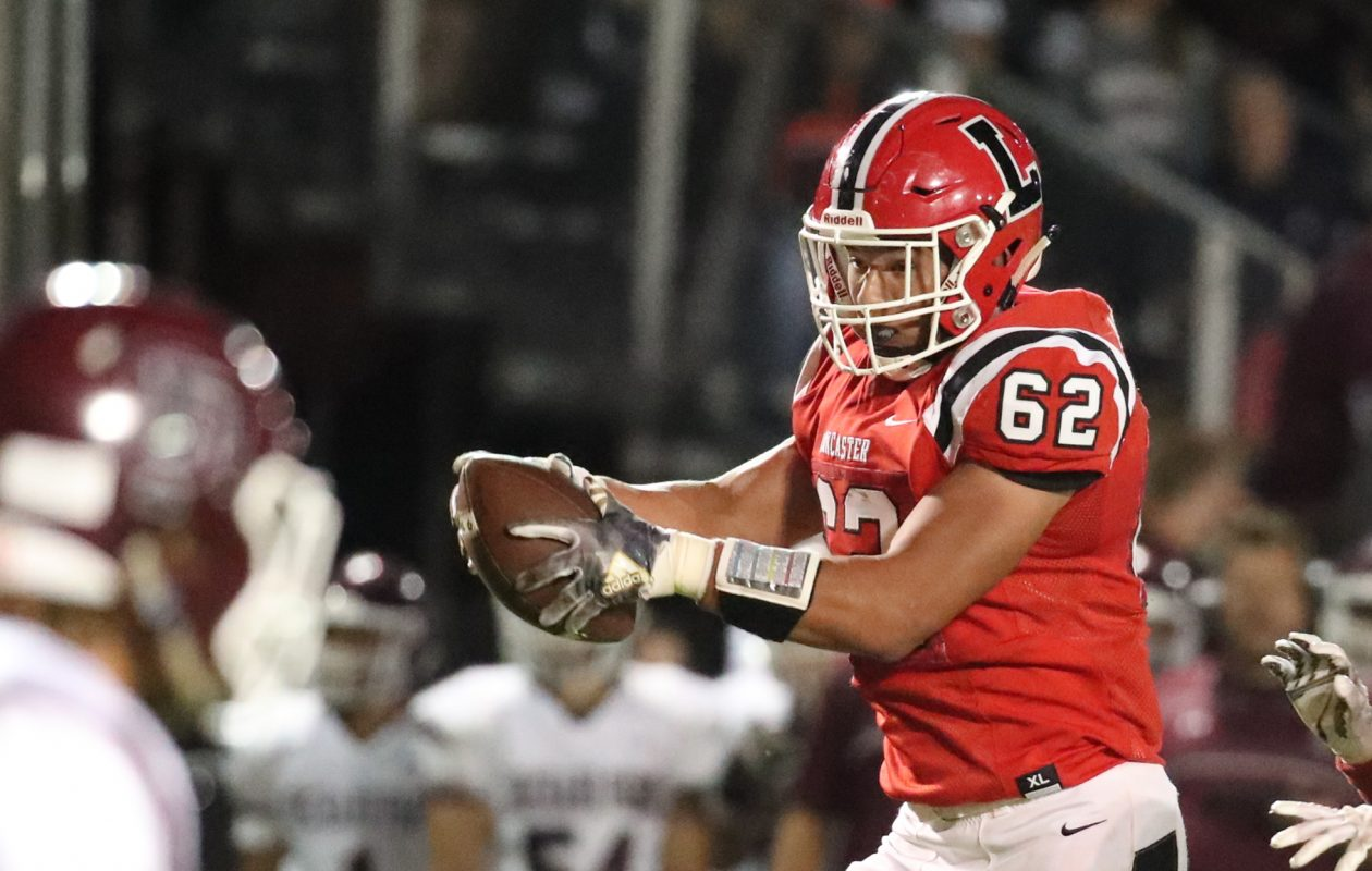 Joseph Andreessen and the the unbeaten Lancaster Legends are among the 40 teams in five classifications that will take part in the Section VI playoffs beginning later this week. Lancaster is the defending Class AA champion and top seed in its classification.  (James P. McCoy/Buffalo News)