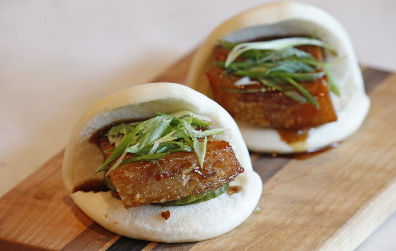 The pork bao buns from The Terrace restaurant, in the upper level of the Marcy Casino. (Robert Kirkham/Buffalo News)