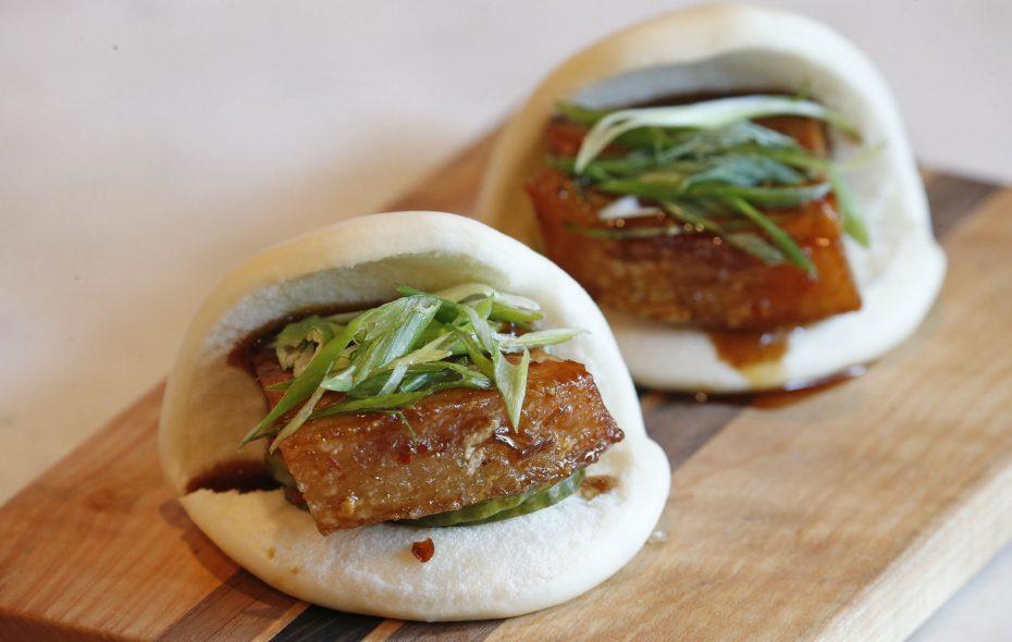 The pork bao buns from The Terrace restaurant, in the upper level of the Marcy Casino. (Robert Kirkham/Buffalo News)