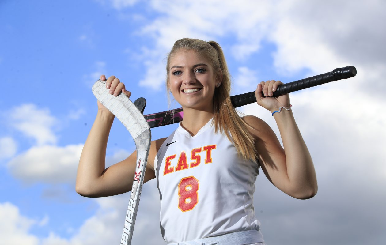 Williamsville East's Holly Schmelzer is a standout in hockey (with both kinds of sticks). (Harry Scull Jr./ Buffalo News)