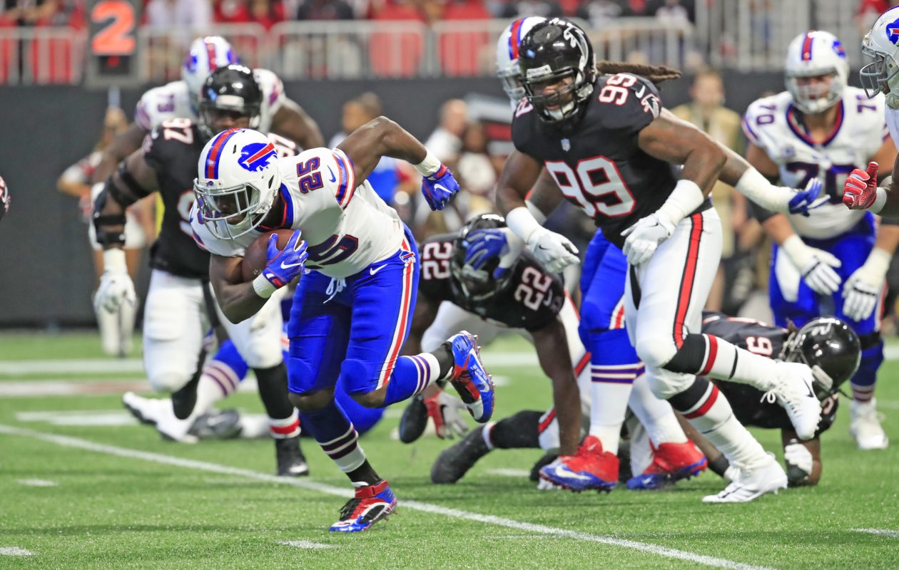 Buffalo Bills LeSean McCoy runs against the Atlanta Falcons during first quarter action at Mercedes-Benz Stadium on Sunday, Oct. 1, 2017. (Harry Scull Jr./Buffalo News)