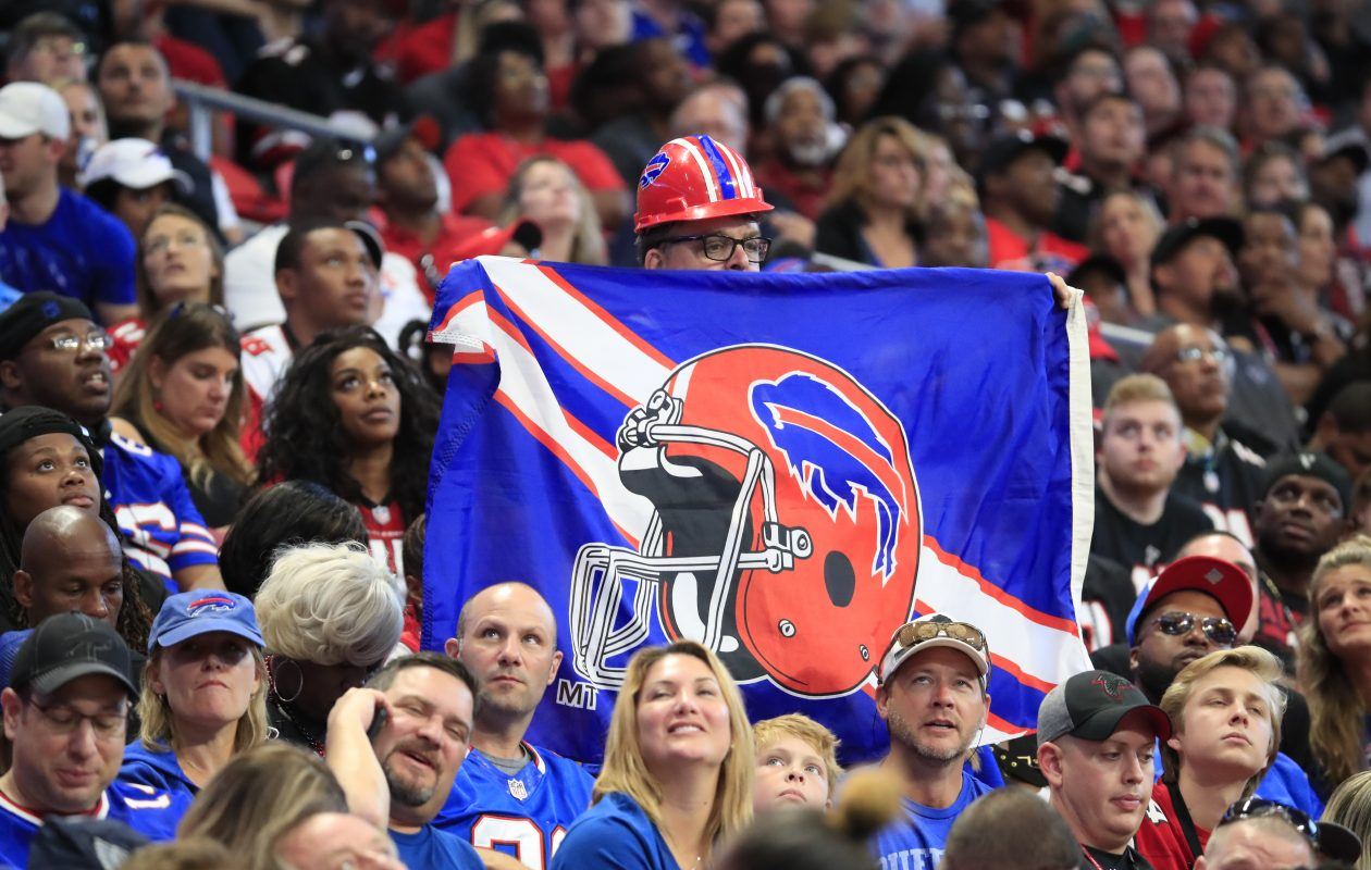 A Buffalo Bills fan shows his support against the Falcons at Atlanta's Mercedes-Benz Stadium on Sunday. (Harry Scull Jr./ Buffalo News)
