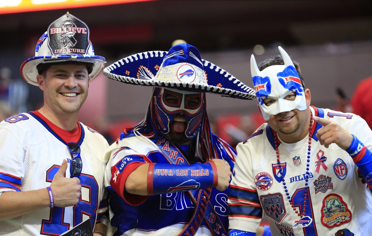 Buffalo Bills fans get ready for the game agains the Atlanta Falcons at Mercedes-Benz Stadium. (Harry Scull Jr./ Buffalo News)