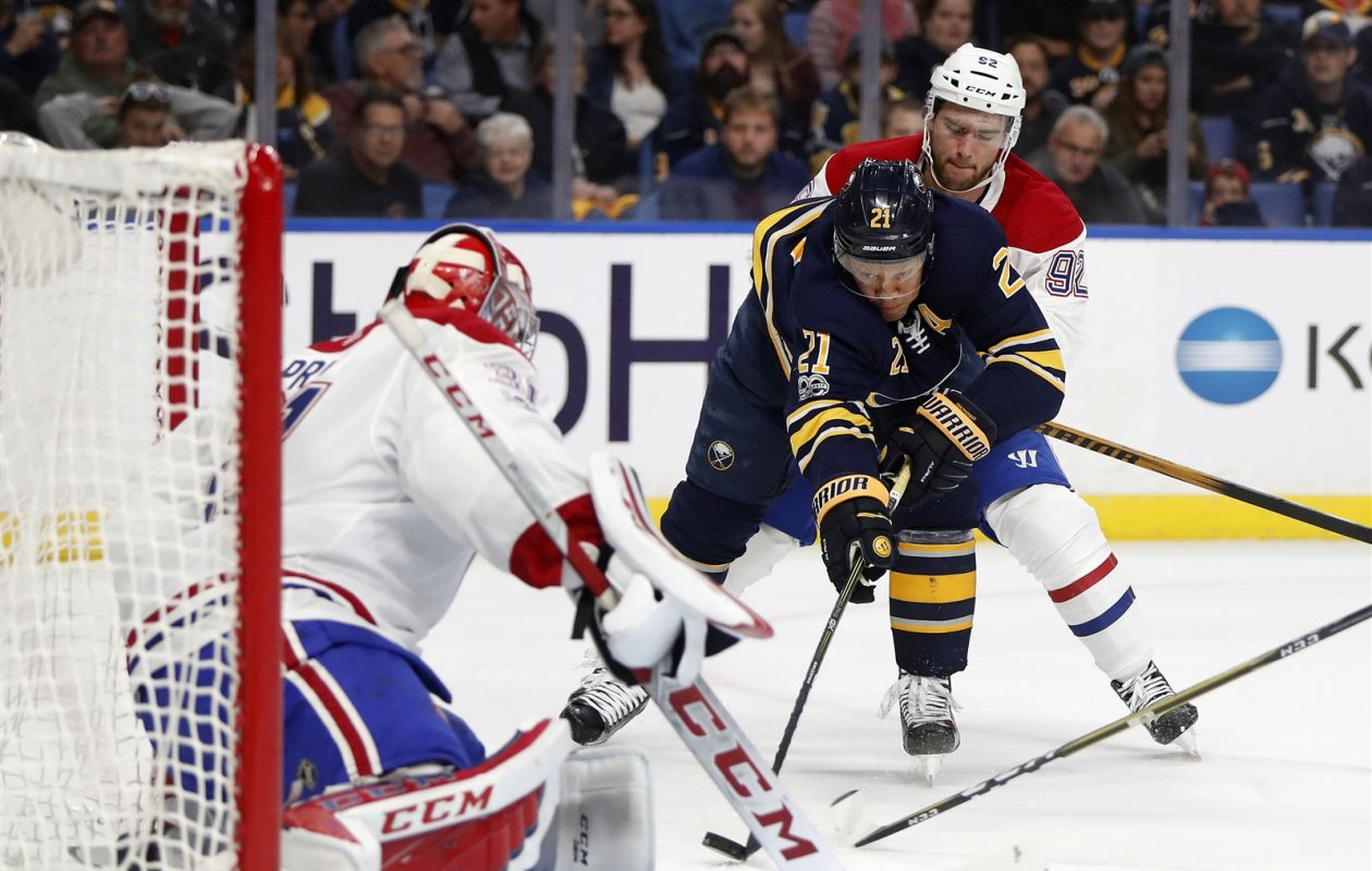 Kyle Okposo and the Sabres had 30 of their 69 shot attempts from below the faceoff circles Thursday. (Mark Mulville/Buffalo News)
