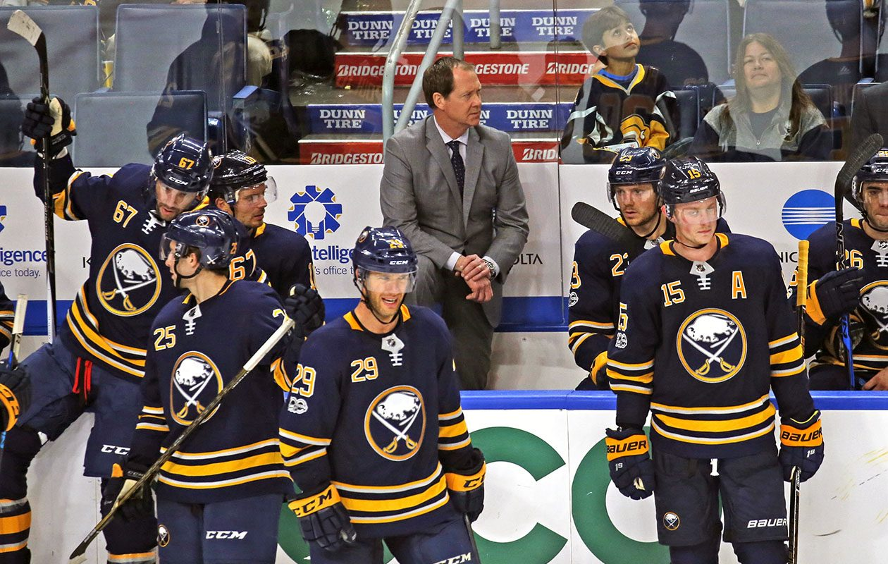 Sabres coach Phil Housley looks like he wants this one to be over in the third period of the game vs. the New Jersey Devils at KeyBank Center on Oct. 9. (Robert Kirkham/Buffalo News)