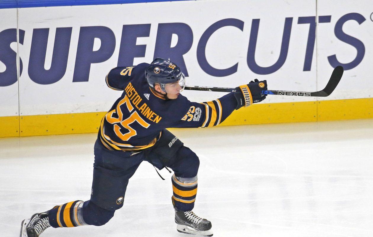 Rasmus Ristolainen is attempting his share of shots, but he needs to hit the net. (Robert Kirkham/Buffalo News)