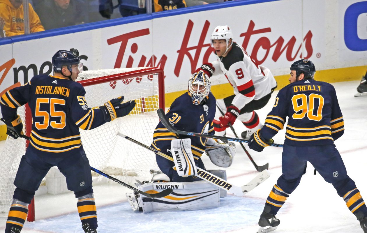 Buffalo goalie Chad Johnson found himself in the middle of confusion during Monday's loss. (Robert Kirkham/Buffalo News)