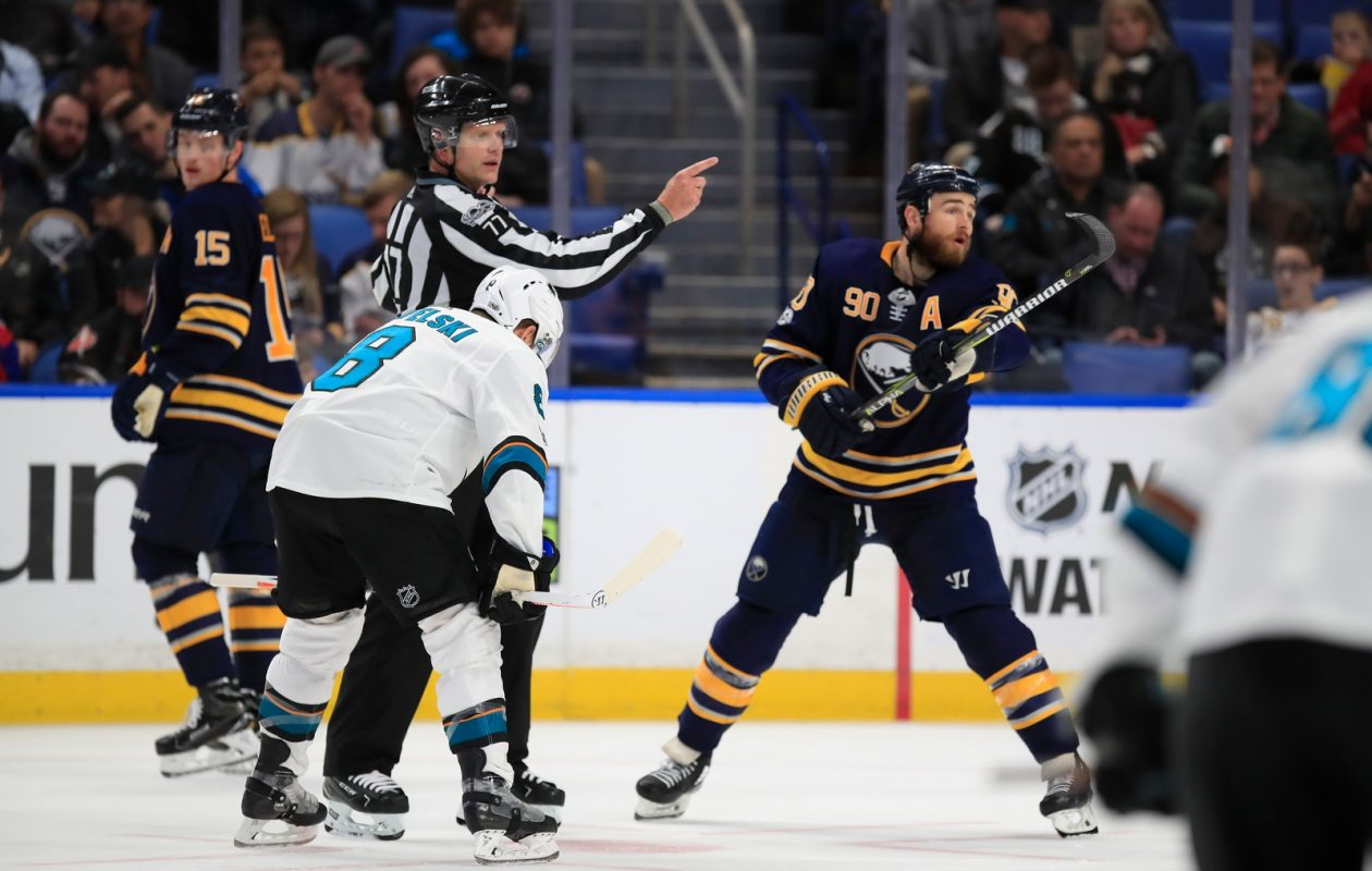 Ryan O'Reilly is among the NHL leaders in the faceoff circle, but it's a struggle for the rest of the team. (Harry Scull Jr./Buffalo News)