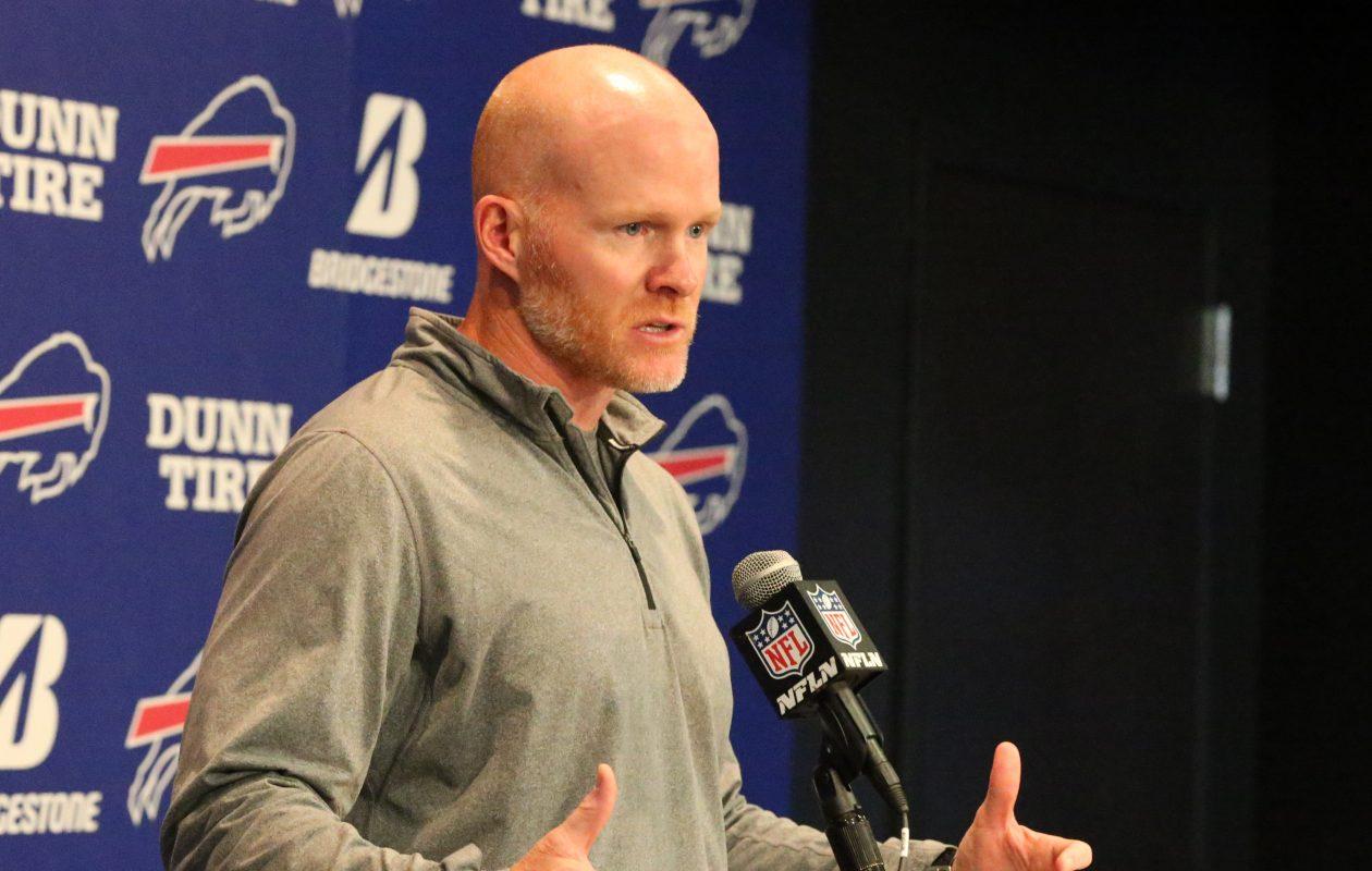 Buffalo Bills head coach Sean McDermott answers questions from the media on Monday, Oct. 2, 2017.  (James P. McCoy/Buffalo News)