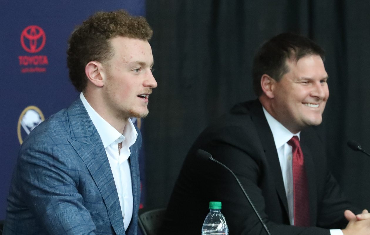 Jack Eichel and Buffalo Sabres General Manager Jason Botterill address the press about Eichel's historic contract signing on Wednesday, Oct. 4, 2017.  (James P. McCoy/Buffalo News)