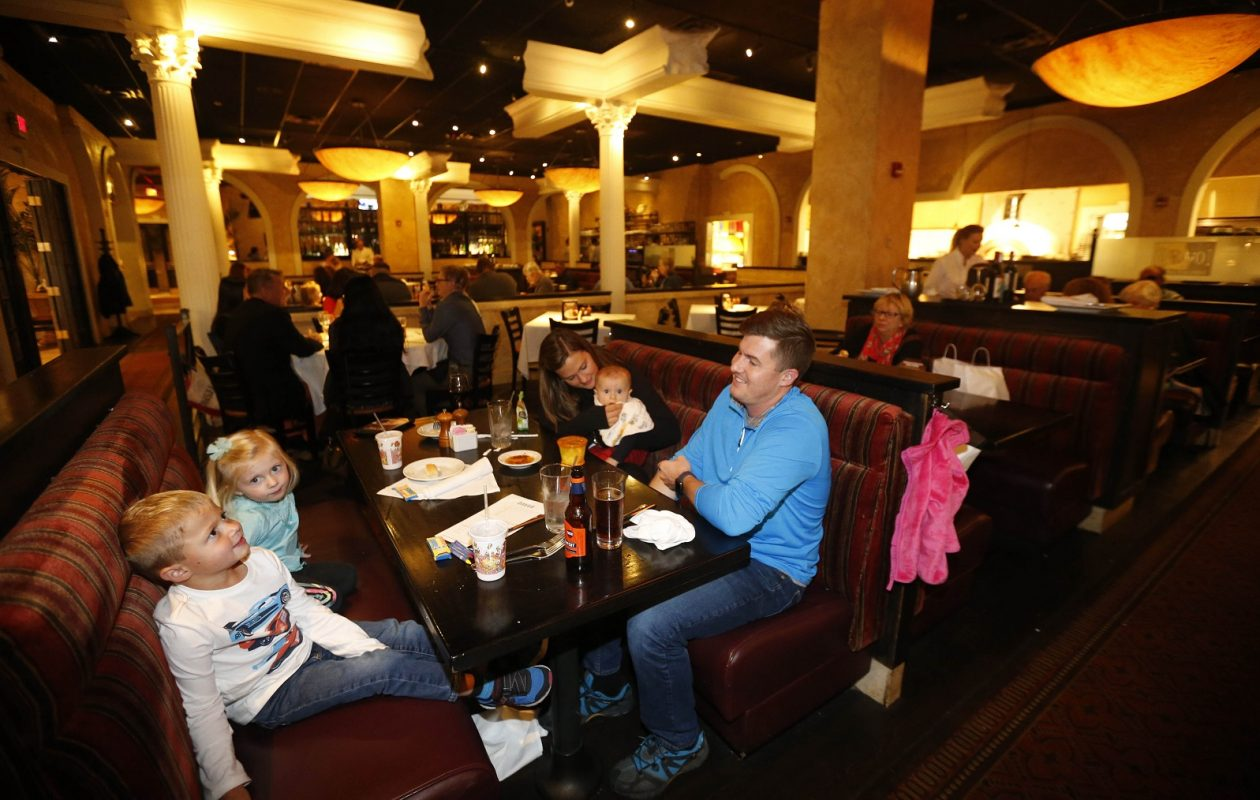 Marissa and Josh Merewether of Lancaster bring their children, Everett, 4, Hadley, 2, and Wyatt, 8 months. (Sharon Cantillon/Buffalo News)