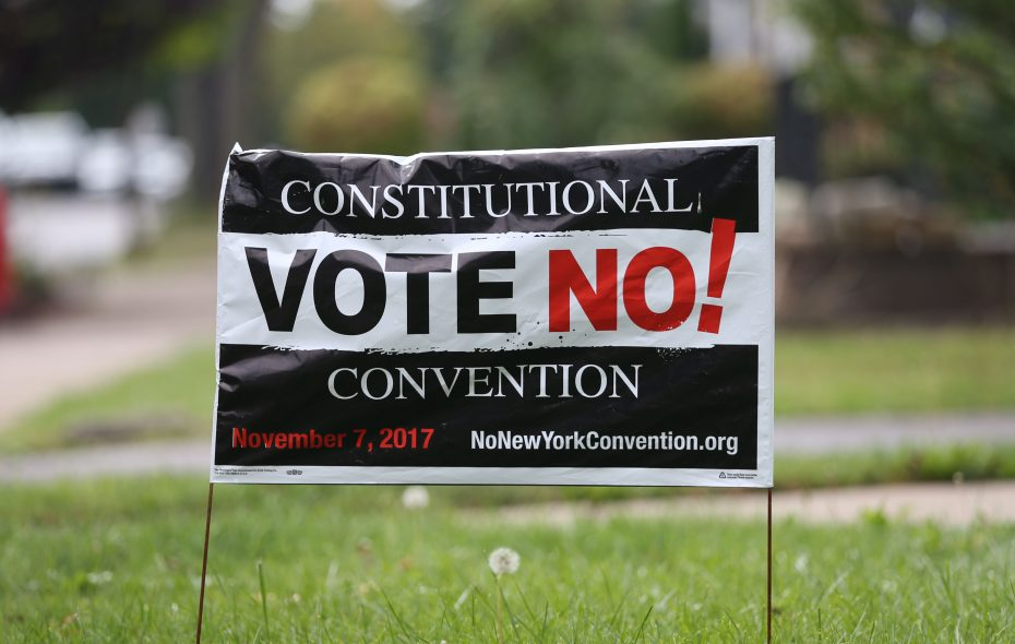 Sign opposing the Constituitonal Convention Propositiion 1 ion the November ballot is displayed on a North Buffalo front lawn, Saturday, Oct. 7, 2017. (Sharon Cantillon/Buffalo News)