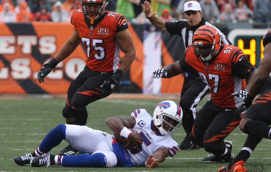 Bills quarterback Tyrod Taylor was sacked six times by the Bengals on Sunday. (James P. McCoy/Buffalo News)